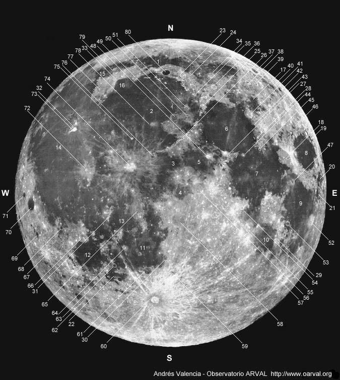 Mapa Luna. Consejos para observar la luna