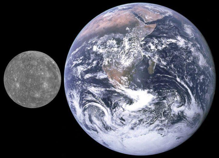 Tamaños. Mercurio planeta cercano al Sol